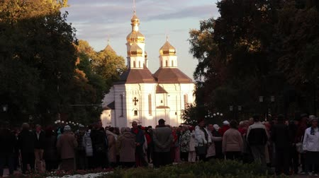растягивается : Chernihiv, Ukraine 22 spt 2019. Pensioners are having a good time dancing at the park to old music played with jazz band Стоковые видеозаписи