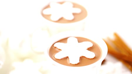 kakao : Homemade hot chocolate garnished with snowflake shaped white marshmallows. Wideo