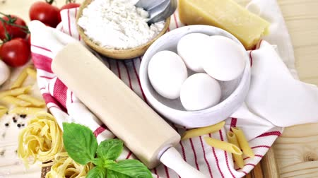 disambiguation : Ingredients for making fettuccine pasta recipe. Stock Footage