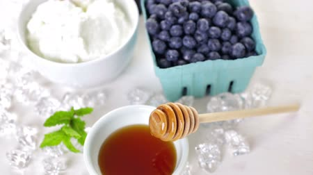 yabanarısı : Ingredients to make smoothie with plain yogurt and fresh berries on the table.