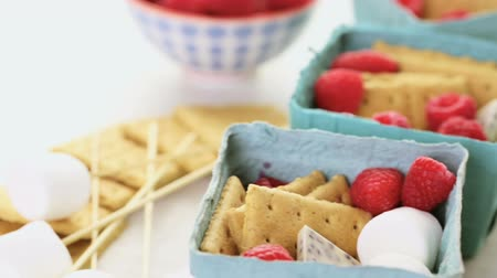 reciclagem : Smores with white chocolate and fresh raspberries. Vídeos