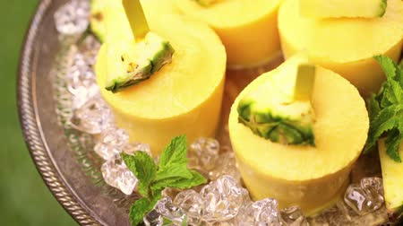 ananas comosus : Homemade low calorie pop ice made with mango, pineapple and coconut milk at the summer picnic.