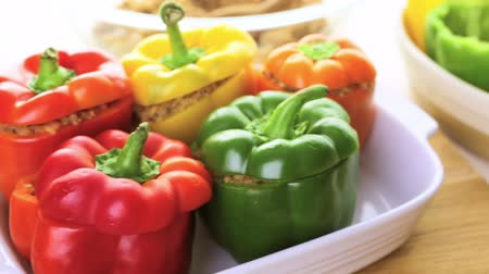 pimentas : Low calorie stuffed peppers with ground turkey and white rice.