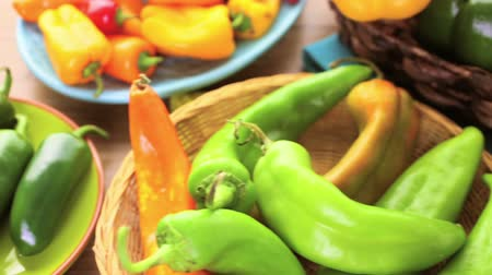 habanero : Variety of fresh organic peppers on the table.