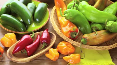 pimentas : Variety of fresh organic peppers on the table.