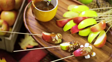 shovívavost : Autumn picnic with fresh caramel apple slices.