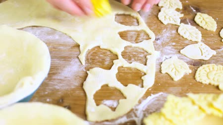crust : Rolling our the dough for pie crust for pumpkin pie. Stock Footage