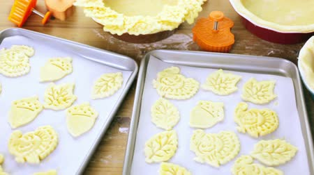 crust : Cutting out Autumn leafs with cookie stamper to decorate pumpkin pie.