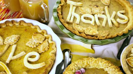 crust : Homemade pumpkin pies with Autumn stamped leafs.