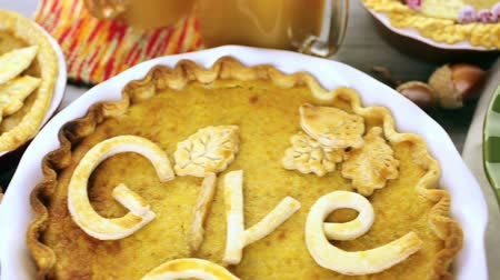 turta : Homemade pumpkin pies with Autumn stamped leafs.