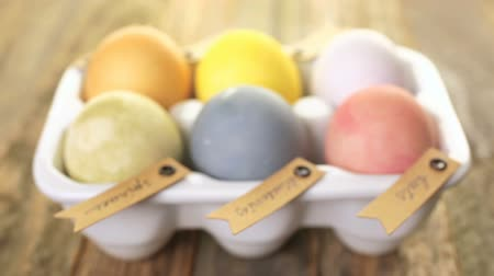 различный : Easter eggs painted with natural egg dye from fruits and vegetables. Стоковые видеозаписи