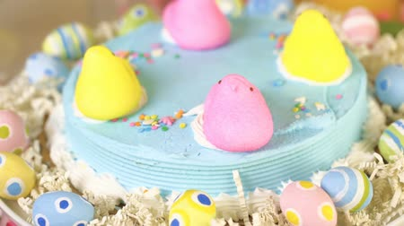 coelho : Dessert table with Easter cake decorated with traditional Easter marshmallow chicks.