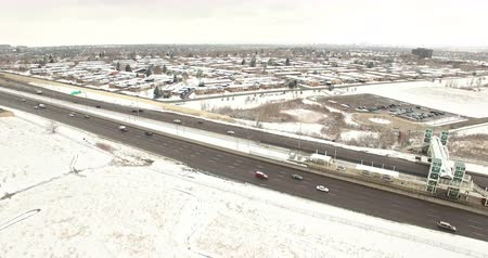dayton : Denver, Colorado, USA-March 18, 2016. Aerial view of Daytona lightrail station in the Winter.