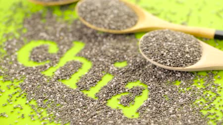 антиоксидант : Healthy Chia seeds with shia sign close-up. Стоковые видеозаписи