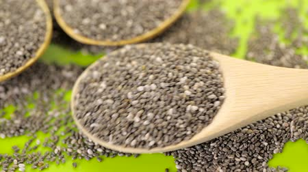 nasiona : Healthy Chia seeds with shia sign close-up. Wideo