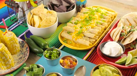 sweetened : Fiesta party buffet table with traditional Mexican food.