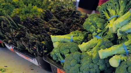 bakkaliye : Organic vegetables from the local farm at the Summer Farmers Market. Stok Video