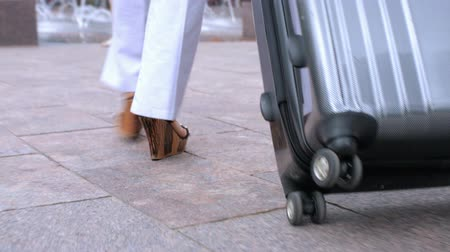 centrum : Young woman walking with large suitcase.