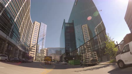 kabel : Denver, Colorado, USA-June 16, 2016. Car driving through Downtown Denver during the day-POV point of view.