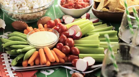 dips : Appetizers on the table for the football party. Stock Footage