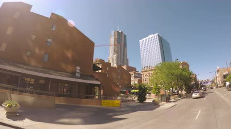 karpatské : Denver, Colorado, USA-June 16, 2016. Car driving through Downtown Denver during the day-POV point of view.