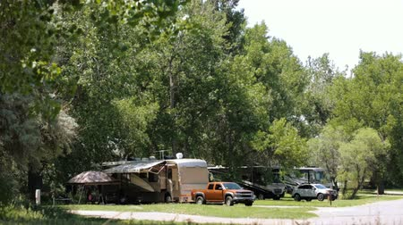 motor vehicle : RV campground at Cherry Creek State Park. Stock Footage