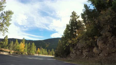vozidla : POV point of view - Driving through alpine forest in the Autumn.