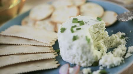trvalka : Soft flavored creamy cheese with garlic and fine herbs on a wood board with crackers.