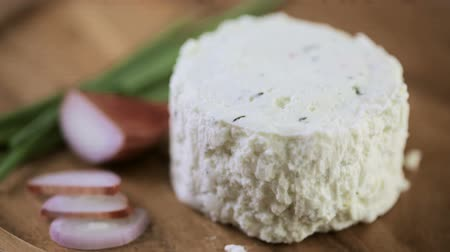 chalota : Soft flavored creamy cheese with shallot and chive. Stock Footage
