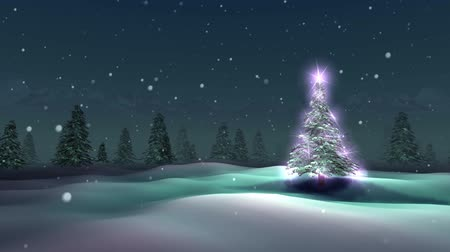 рождественская елка : Beautiful and Magic Christmas Tree at snowy night, loopable Стоковые видеозаписи