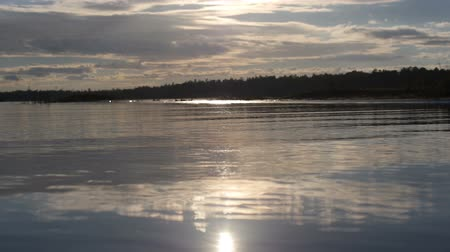 à beira do lago : Lake in Canada at sunrise - low view Room - Small waves near the lens - Close shot Stock Footage
