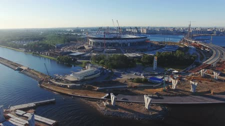 zenit : Zenit Arena soccer stadium construction site at sunny summer day. Aerial footage. August 2015, Saint-Petersburg, Russia. Stock Footage