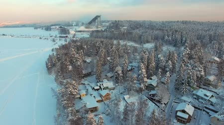 lakeshore : Rural winter landscape at sunset. Flying above frozen lakeside covered in snow, coniferous forest with pines and firs, small village with country houses and cottages. Aerial footage. Stock Footage
