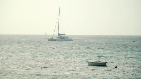 solitário : Luxury yacht bobs and swing on the waves of bright turquoise ocean on sunny day. Zanzibar, Tanzania, Africa. Stock Footage