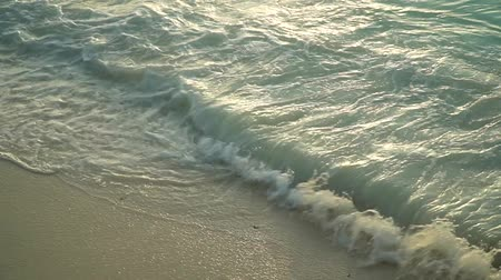 Sea foamy waves rolling on and washing clean white sand beach of tropical ocean coast line at sunset. Nungwi beach, Zanzibar, Tanzania. Slow motion footage.