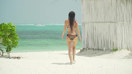 Young caucasian woman walking barefoot on sandy beach along turquoise ocean coastline. Adult european girl in swimsuit walks on deserted paradise beach resort at sunny day. Slow motion footage.
