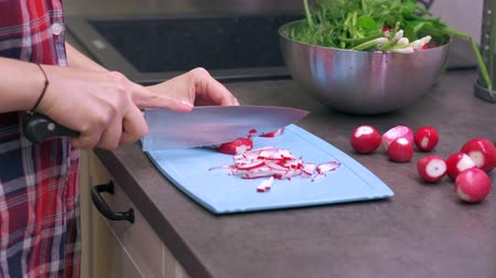 field kitchen : Young woman housewife cuts radish on a blue plastic cutting board. Preparing food ingredients on a stone countertop at a home kitchen. 4k 50 frames per second narrow depth of field close up footage. Stock Footage