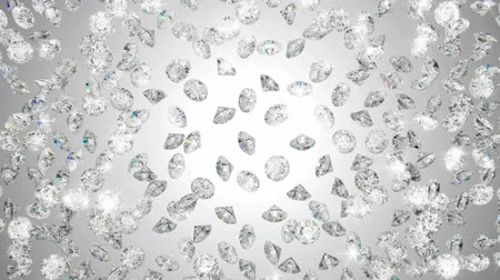 biżuteria : Diamonds scattering or flying away over studio light background Wideo