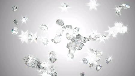вниз : Large sparkling diamonds flow with slow motion