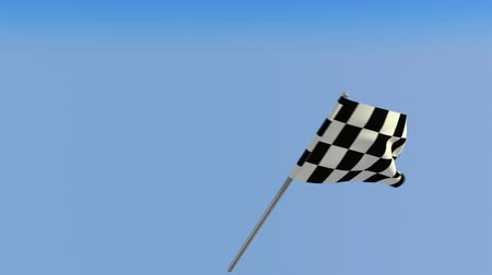 formuła : Finish – Loopable waving checkered flag over blue sky