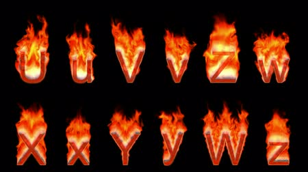 letter w : Loopable burning U, V, Z, W, X, Y. Alpha channel is included