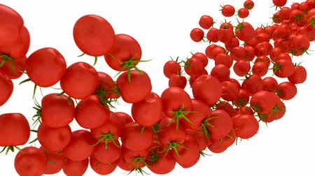 cherry domates : Tomatoes Cherry flow with slow motion over white