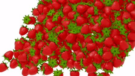 çilek : Strawberry flow or stream with slow motion over white
