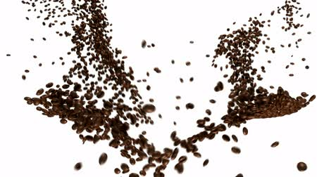 xícara de café : Coffee beans flow with slow motion over white Vídeos