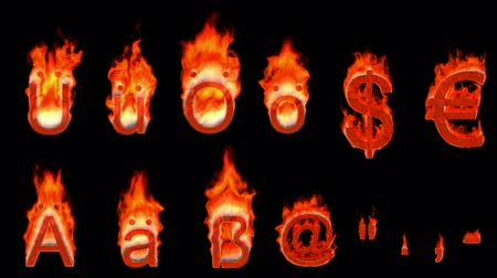 tire : Loopable burning German umlauts, dollar, euro, comma, quote, dot, hyphen. Alpha channel is included. Height of capital characters: about 195 pixels (400 pix. with flames). Height of small characters: about 145 pixels (380 pix. with flames)