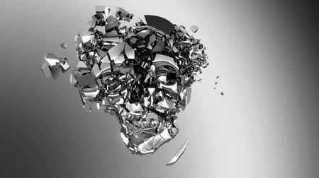 plated : Chromed Skull destruction with slow motion. Alpha channel is included Stock Footage
