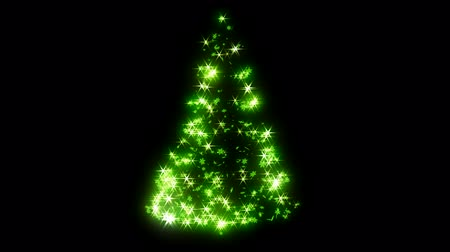 рождественская елка : Loopable Rotating green sparkles shape of Christmas tree