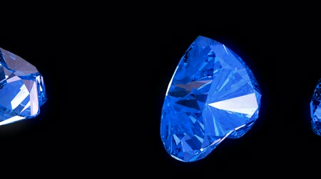 ruit patroon : Loopable blauw hart geslepen diamanten stroom met slow motion Stockvideo