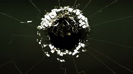 poškozené : Cracked and Shattered black glass with slow motion. Alpha is included