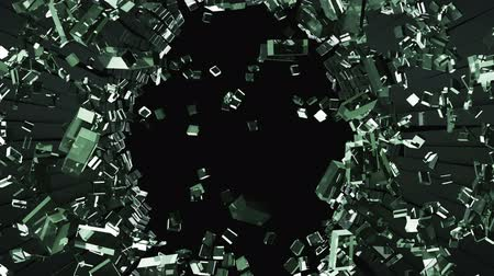 треснувший : Cracked and Shattered black glass with slow motion. Alpha is included